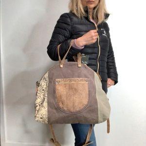 Myra Up-Cycled Large Tote Crossbody Bag